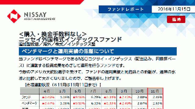 <購入・換金手数料なし>ニッセイ外国株式インデックスファンドの乖離についての評価