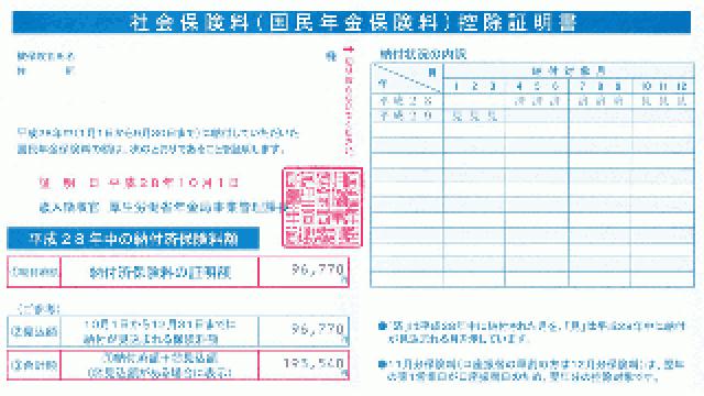 国民年金保険料の控除証明書が届きました(2016年)