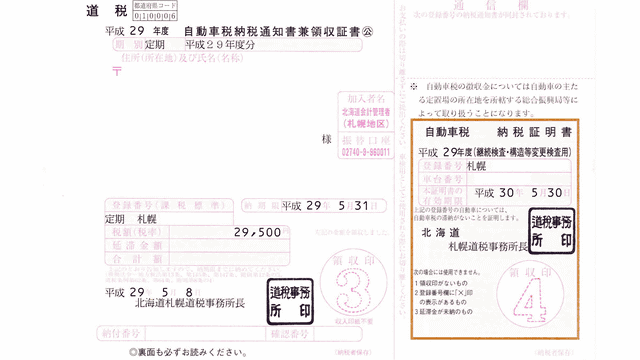 平成29年度 自動車税納税通知書兼領収書のイメージ