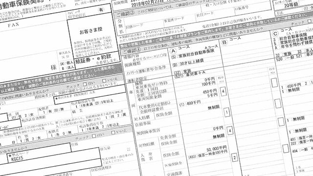 自動車保険契約申込書のイメージ