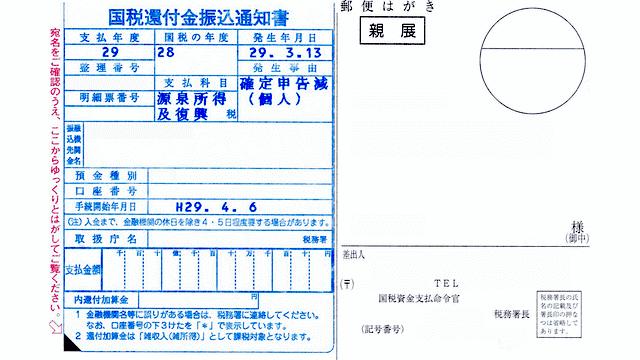 国税還付金振込通知書のイメージ